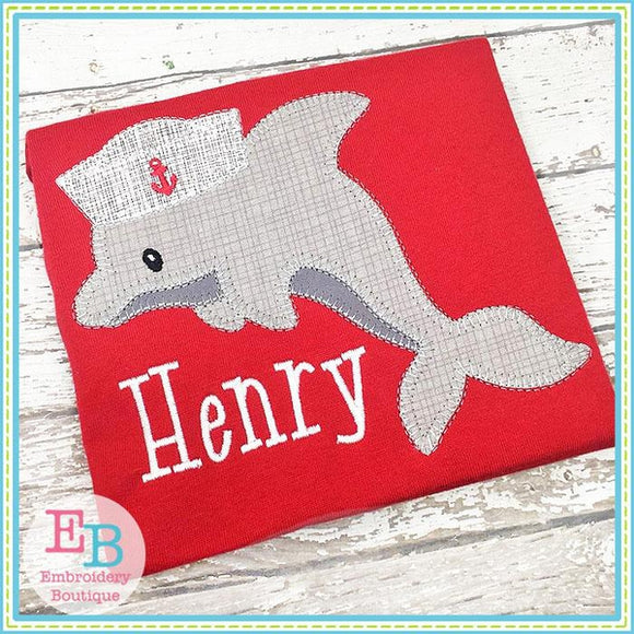 Dolphin Hat Blanket Stitch Applique