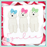 Doodle Bow Trio Bean Applique-Embroidery Boutique