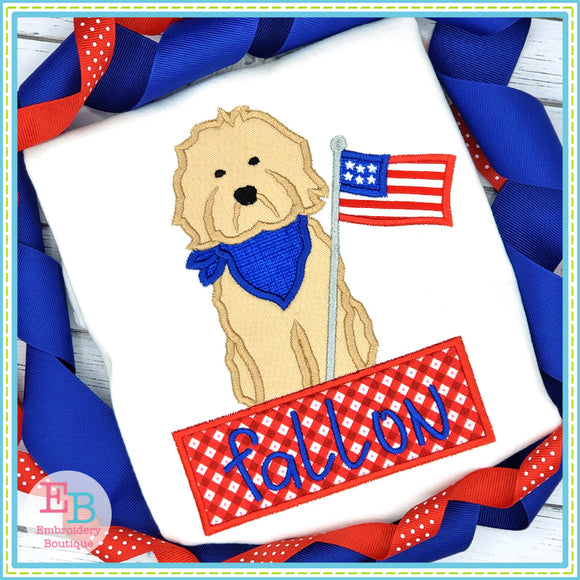 Doodle Flag Banner Satin Applique