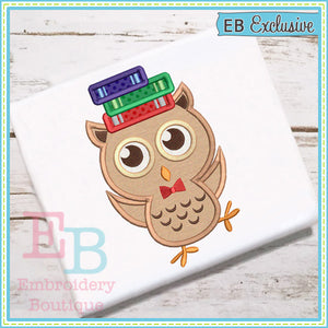 Owl Books Applique