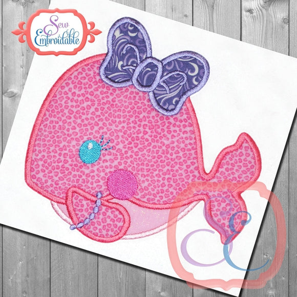 Shy Girl Whale Applique - embroidery-boutique