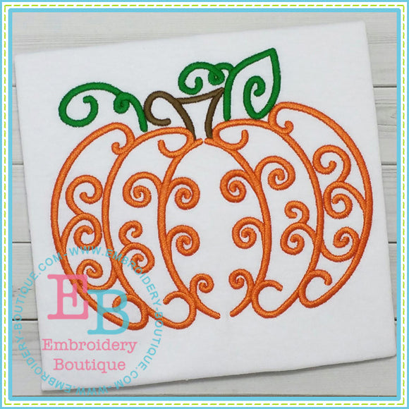 Swirl Pumpkin 2 Embroidery Design, Embroidery