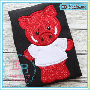 Football Pig Boy Applique - embroidery-boutique