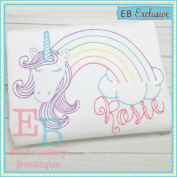 Vintage Rainbow Unicorn Design, Embroidery
