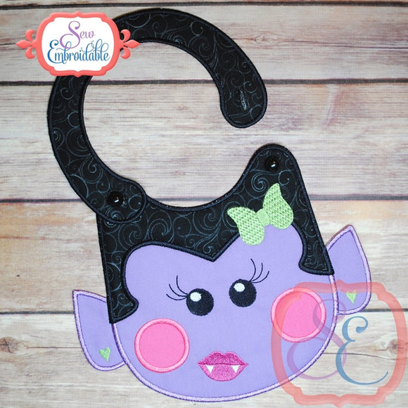 ITH Girl Dracula Baby Bib - embroidery-boutique