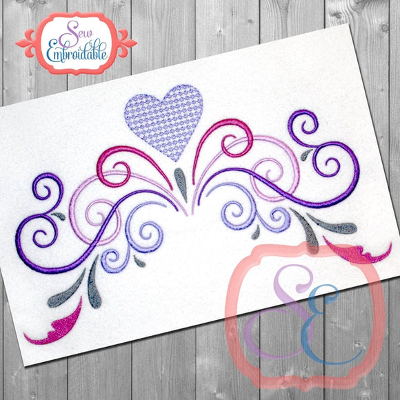 Valentine Swirls Embroidery Design, Embroidery