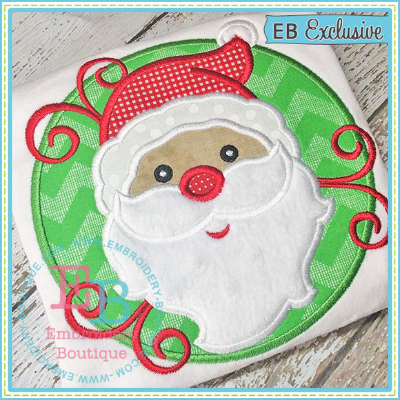 Santa Swirly Patch Applique - embroidery-boutique