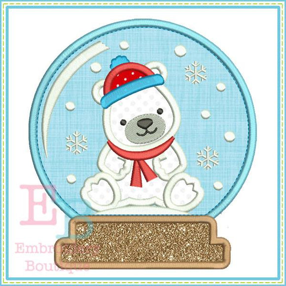 Bear Snow Globe Applique - embroidery-boutique