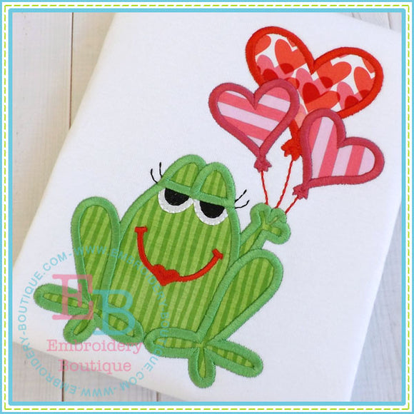 Girl Vday Frog Applique, Applique