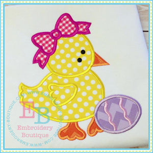 Girl Chick Bow Applique - embroidery-boutique