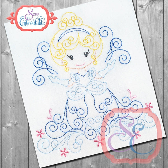 Swirly Princess 2 Embroidery Design, Embroidery