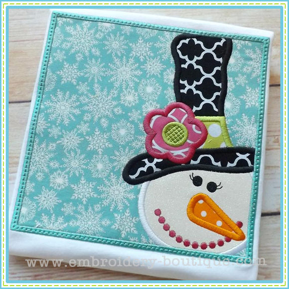Snowlady Box Applique - embroidery-boutique