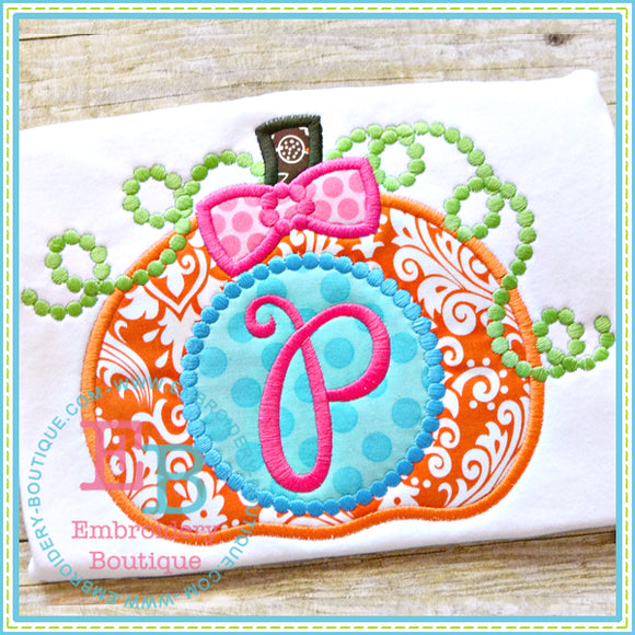 Dotted Monogram Pumpkin Applique, Applique