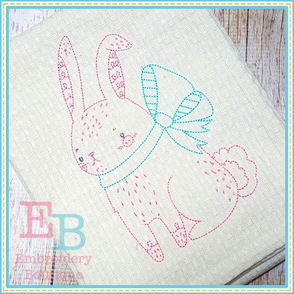 Vintage Stitch Bunny Design, Embroidery