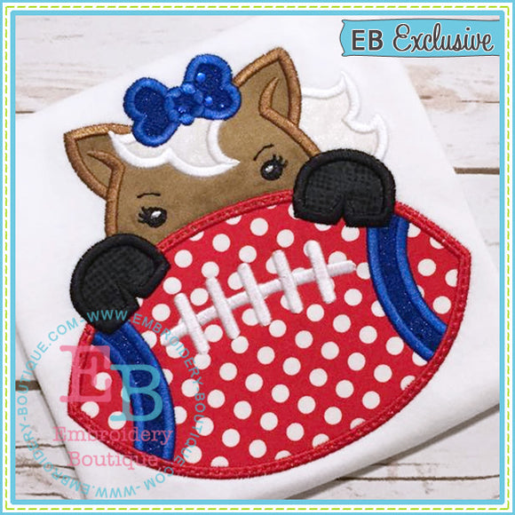 Football Mustang Girl Applique, Applique