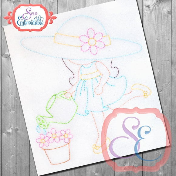 Sunbonnet Sue Watering Embroidery Design, Embroidery