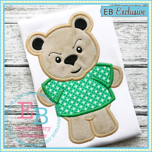 Boy Bear Mascot Applique, Applique