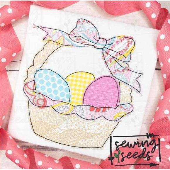 Easter Basket with Bow Applique SS, Applique