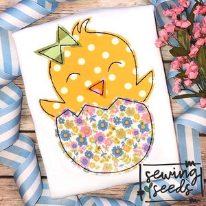 Easter Chick with Bow Applique SS, Applique