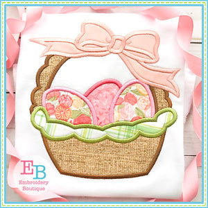 Easter Basket Bow Satin Applique