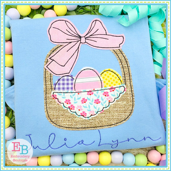 Big Bow Easter Basket Bean Stitch Applique, Applique