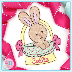 Easter Basket Bows Bunny Bean Stitch Applique, Applique