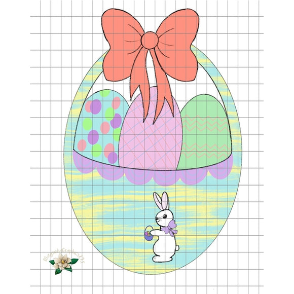 Easter Basket with Bunny PNG Printable Design - embroidery-boutique