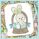 Easter Basket Boy Bunny Bean Stitch Applique, Applique