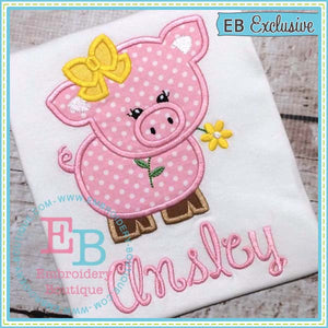 Girl Pig with Bow Applique - embroidery-boutique