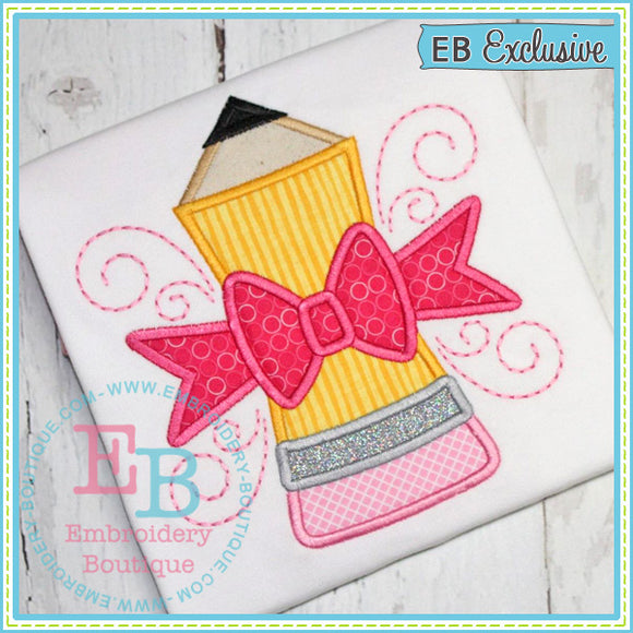 Pencil with Bow Applique - embroidery-boutique