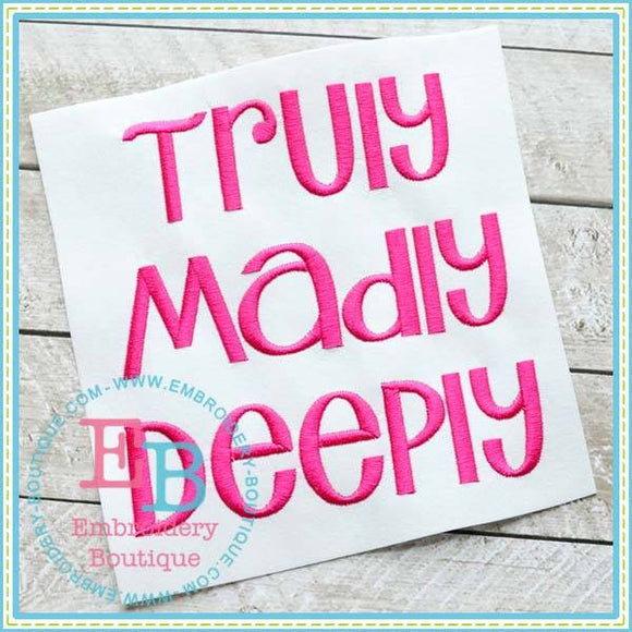 Truly Madly Deeply Alphabet - embroidery-boutique