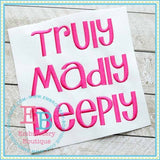 Truly Madly Deeply Embroidery Font, Embroidery Font