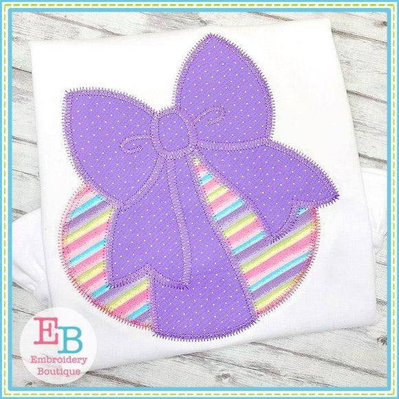 Bow Tied Egg Zigzag Applique, Applique