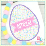 Egg Name Banner Satin Applique