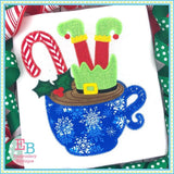 Elf Hot Chocolate Applique, Applique