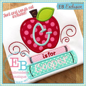Apple with Books Applique