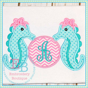 Monogram Sea Horses Applique, Applique