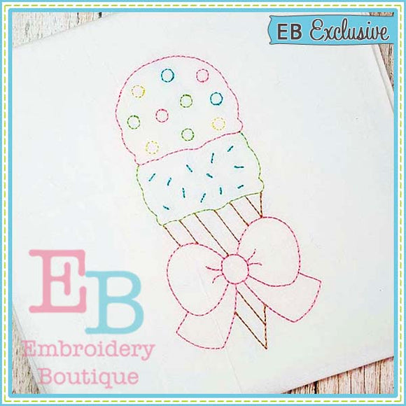 Vintage Ice Cream Design, Embroidery