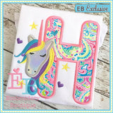 Unicorn Applique Alphabet