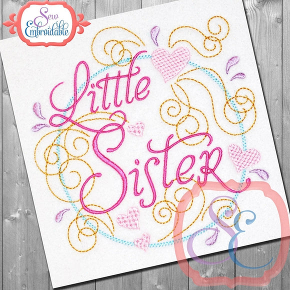 Little Sister Swirly Embroidery Design - embroidery-boutique