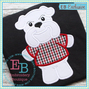 Boy Bulldog Mascot Applique, Applique