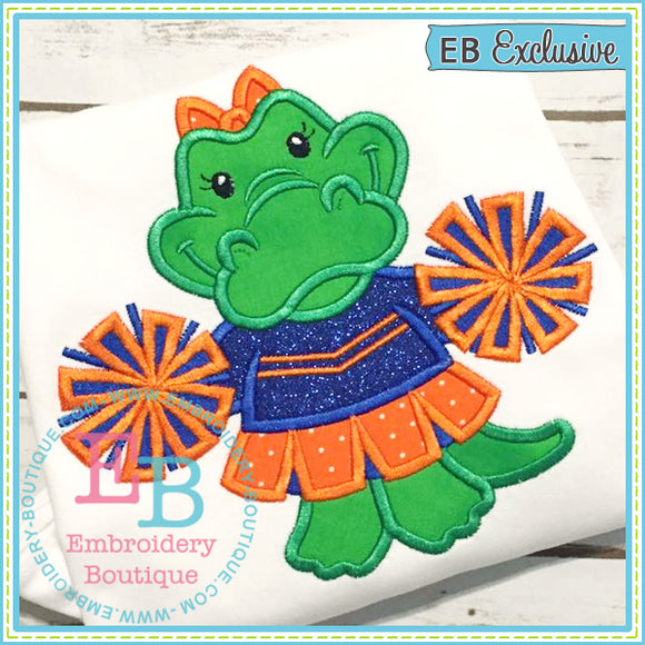 Girl Gator Mascot Applique - embroidery-boutique