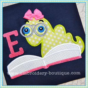 Book Worm Applique - embroidery-boutique