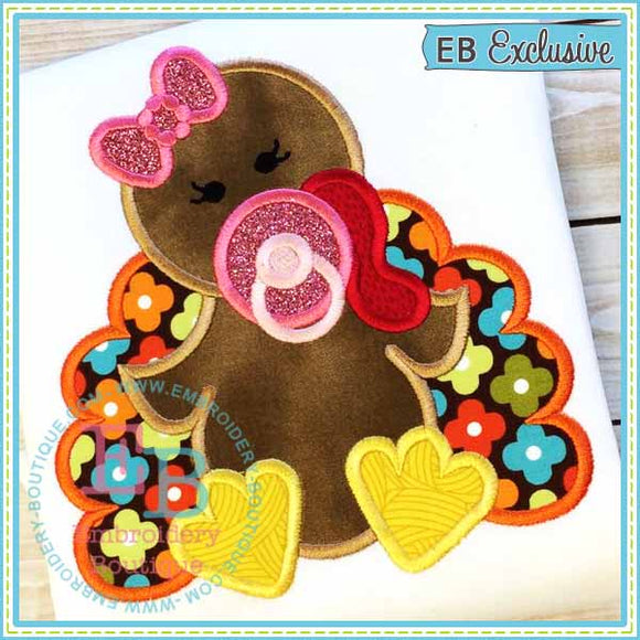 Baby Girl Turkey Applique, Applique