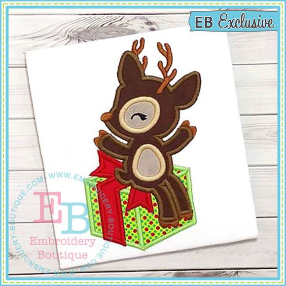 Deer Gift Applique, Applique