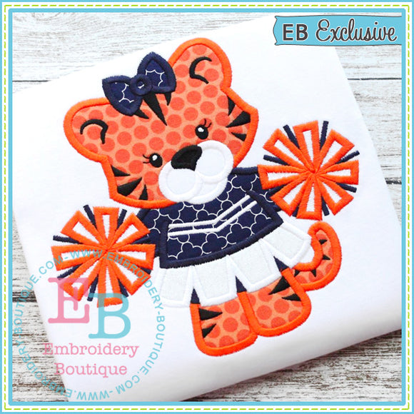 Girl Tiger Mascot Applique - embroidery-boutique