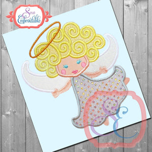 Curly Angel Applique - embroidery-boutique