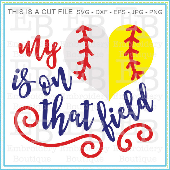 Heart on the Field Baseball/Softball SVG, SVG Cut Files