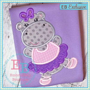 Hippo Ballerina Applique