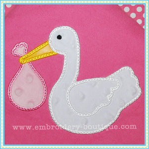 Stork Applique - embroidery-boutique